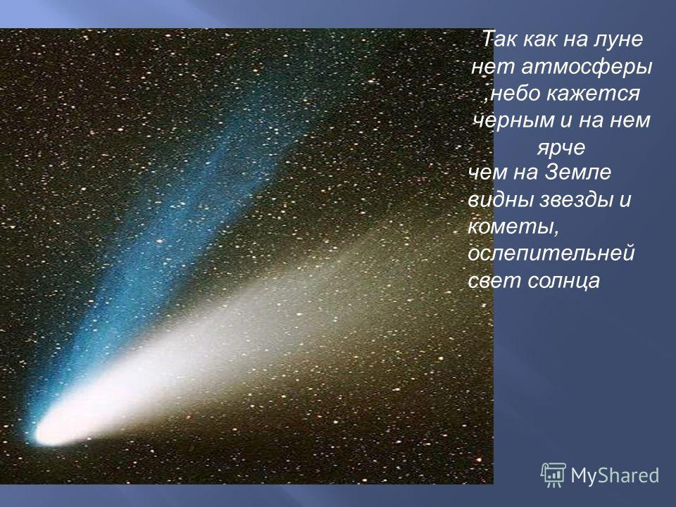 Так как на луне нет атмосферы,небо кажется черным и на нем ярче чем на Земле видны звезды и кометы, ослепительней свет солнца