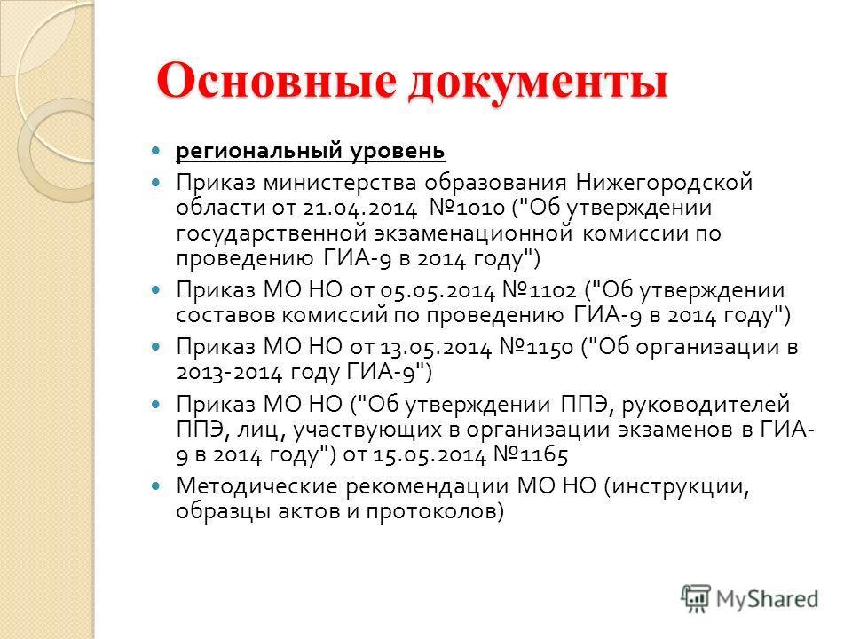 Основные документы Основные документы региональный уровень Приказ министерства образования Нижегородской области от 21.04.2014 1010 (