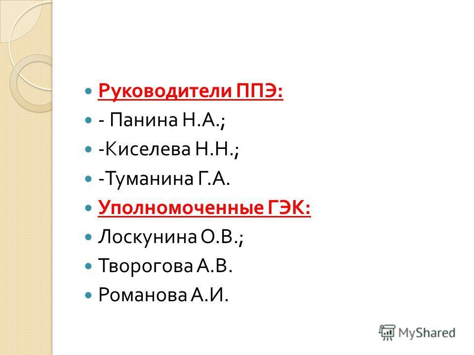 Руководители ППЭ : - Панина Н. А.; - Киселева Н. Н.; - Туманина Г. А. Уполномоченные ГЭК : Лоскунина О. В.; Творогова А. В. Романова А. И.
