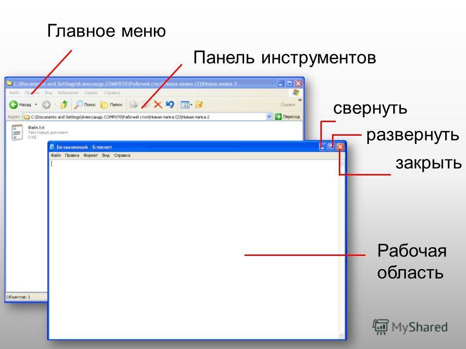 свернуть развернуть закрыть Главное меню Панель инструментов Рабочая область