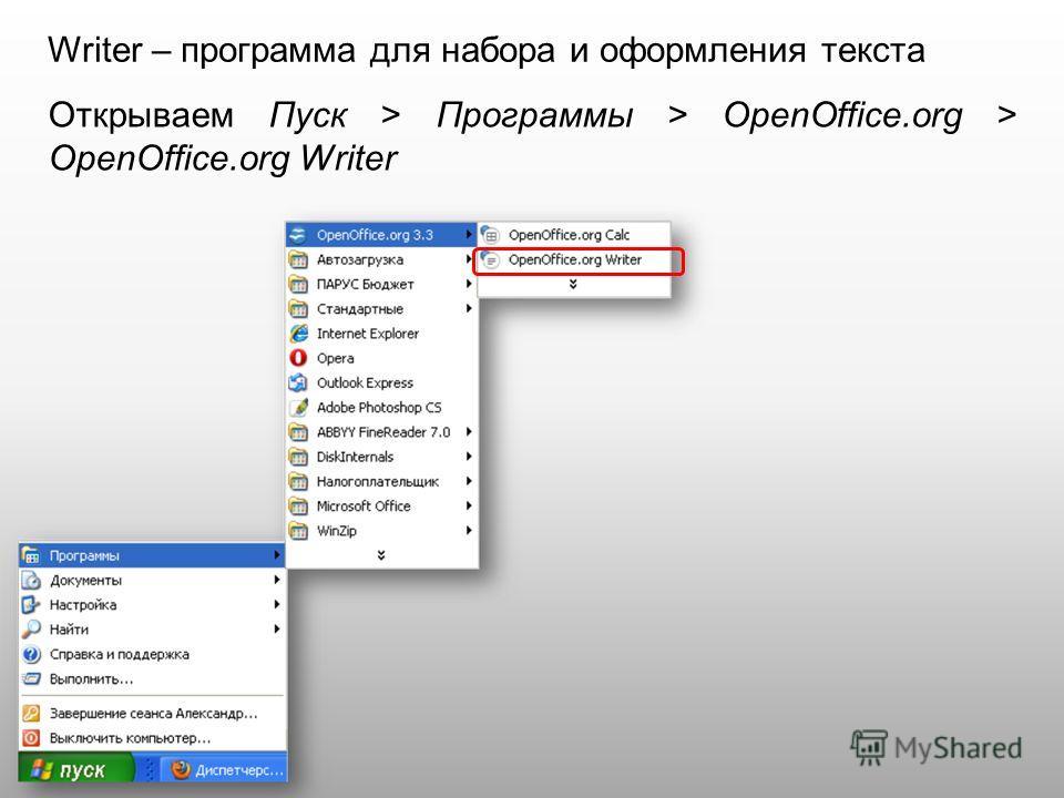 Writer – программа для набора и оформления текста Открываем Пуск > Программы > OpenOffice.org > OpenOffice.org Writer
