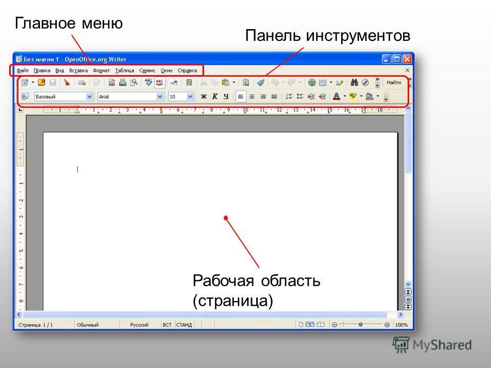 Главное меню Панель инструментов Рабочая область (страница)
