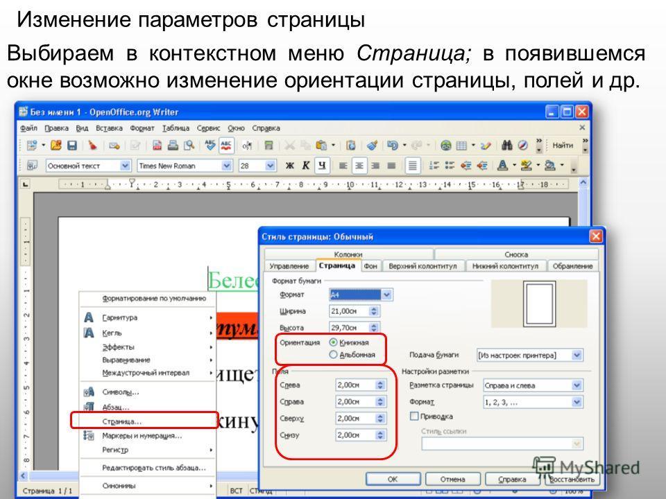 Изменение параметров страницы Выбираем в контекстном меню Страница; в появившемся окне возможно изменение ориентации страницы, полей и др.