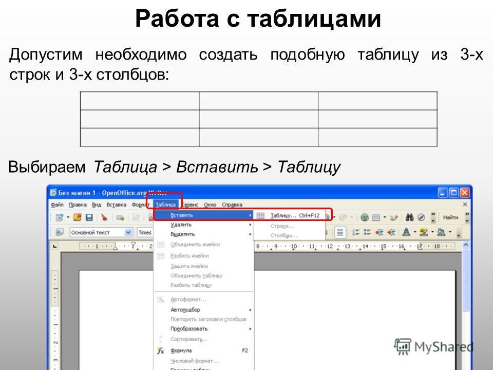 Работа с таблицами Допустим необходимо создать подобную таблицу из 3-х строк и 3-х столбцов: Выбираем Таблица > Вставить > Таблицу