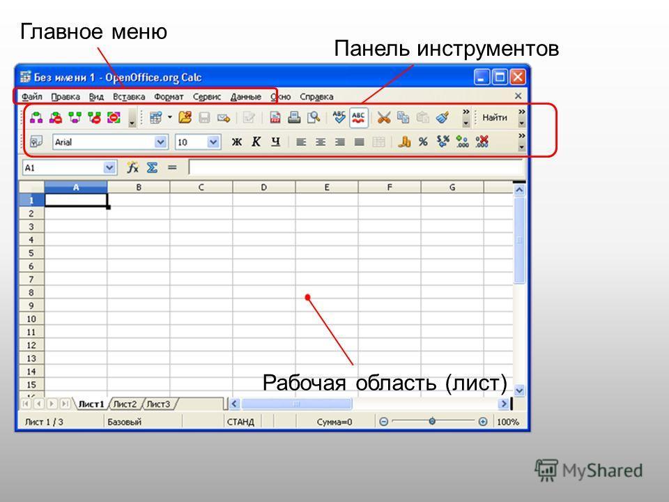 Главное меню Панель инструментов Рабочая область (лист)