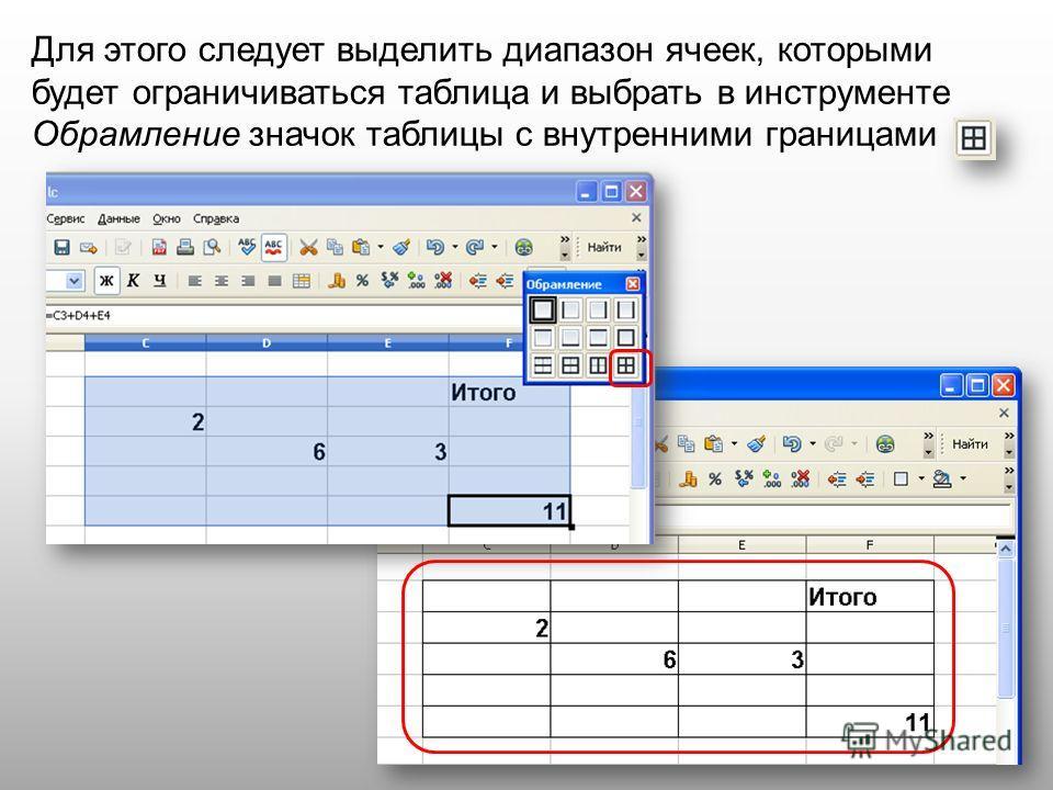 Для этого следует выделить диапазон ячеек, которыми будет ограничиваться таблица и выбрать в инструменте Обрамление значок таблицы с внутренними границами
