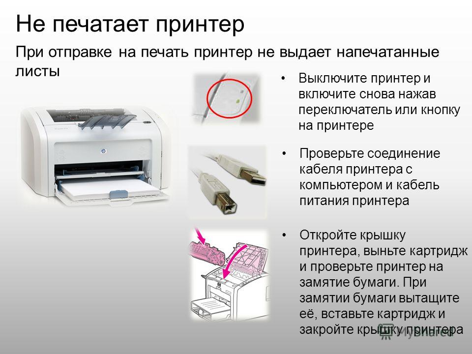 Не печатает принтер Выключите принтер и включите снова нажав переключатель или кнопку на принтере При отправке на печать принтер не выдает напечатанные листы Проверьте соединение кабеля принтера с компьютером и кабель питания принтера Откройте крышку