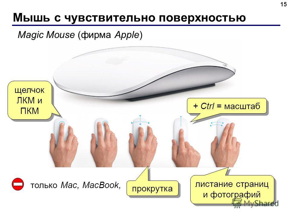 Мышь с чувствительно поверхностью 15 Magic Mouse (фирма Apple) щелчок ЛКМ и ПКМ прокрутка листание страниц и фотографий + Ctrl = масштаб только Mac, MacBook,