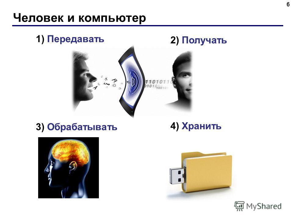 Человек и компьютер 6 1) Передавать 3) Обрабатывать 2) Получать 4) Хранить