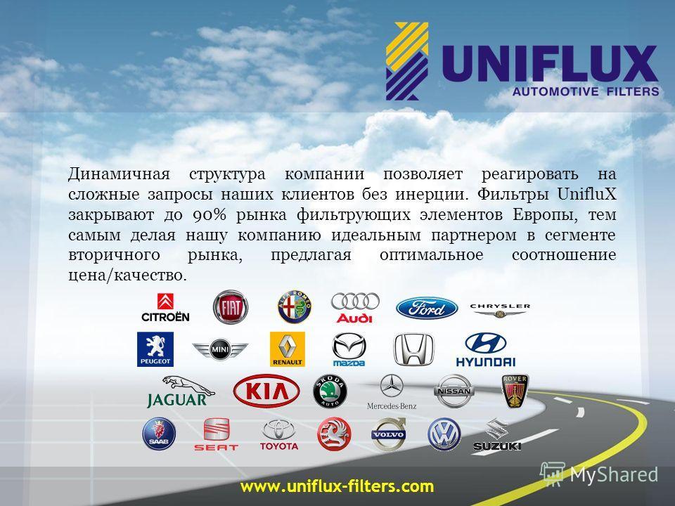 www.uniflux-filters.com Динамичная структура компании позволяет реагировать на сложные запросы наших клиентов без инерции. Фильтры UnifluX закрывают до 90% рынка фильтрующих элементов Европы, тем самым делая нашу компанию идеальным партнером в сегмен