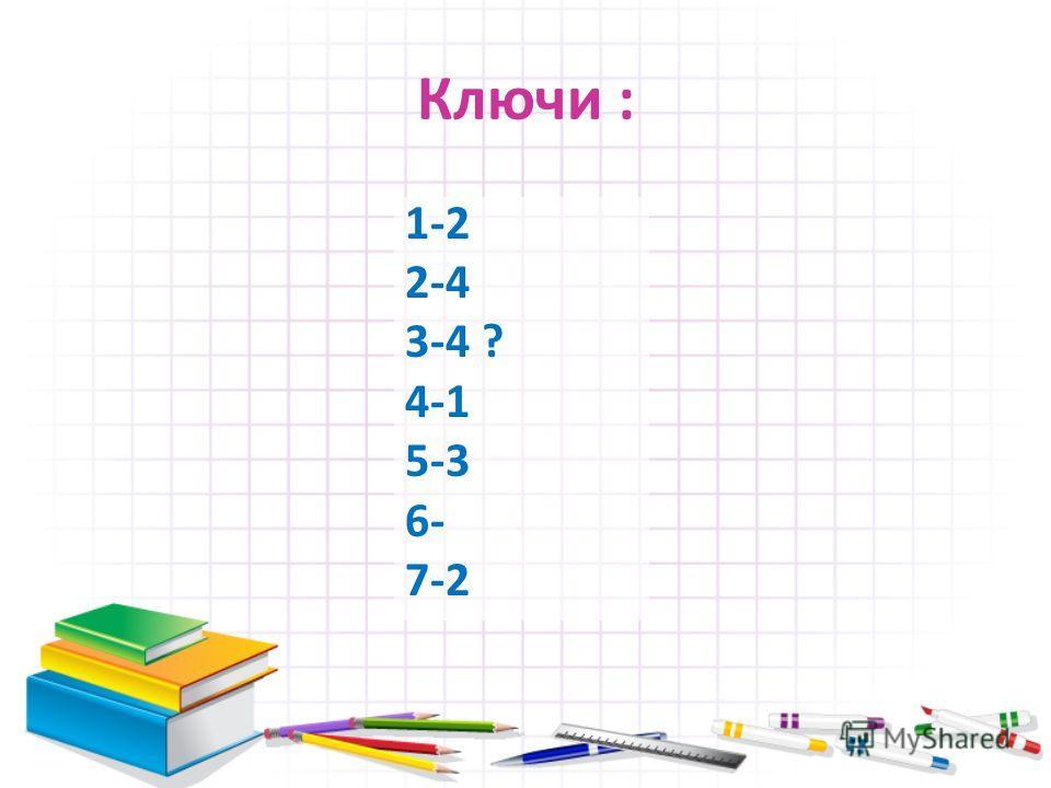 Ключи : 1-2 2-4 3-4 ? 4-1 5-3 6- 7-2