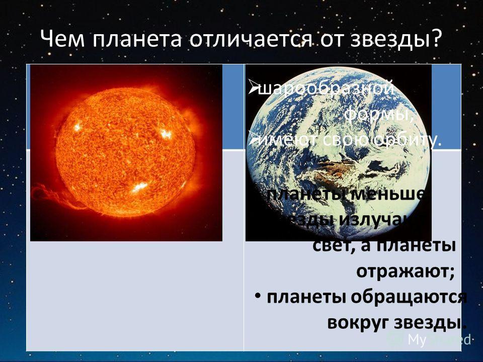 Чем планета отличается от звезды? Общее: Отличия: планеты меньше; звезды излучают свет, а планеты отражают; планеты обращаются вокруг звезды. шарообразной формы, имеют свою орбиту.