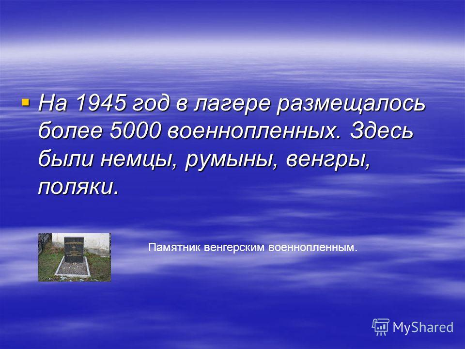 На 1945 год в лагере размещалось более 5000 военнопленных. Здесь были немцы, румыны, венгры, поляки. На 1945 год в лагере размещалось более 5000 военнопленных. Здесь были немцы, румыны, венгры, поляки. Памятник венгерским военнопленным.