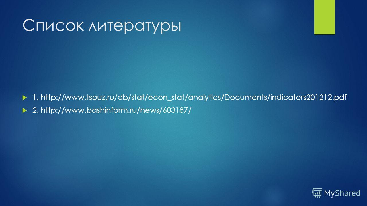 Список литературы 1. http://www.tsouz.ru/db/stat/econ_stat/analytics/Documents/indicators201212. pdf 2. http://www.bashinform.ru/news/603187/
