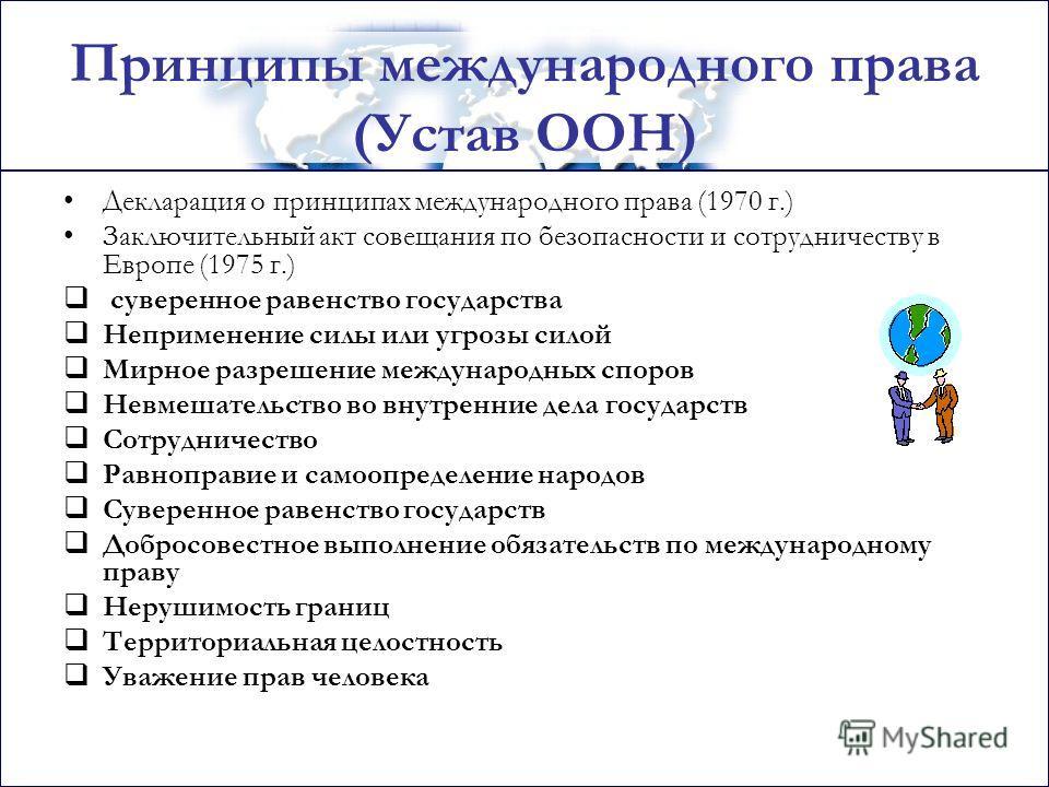 Принципы международного права (Устав ООН) Декларация о принципах международного права (1970 г.) Заключительный акт совещания по безопасности и сотрудничеству в Европе (1975 г.) суверенное равенство государства Неприменение силы или угрозы силой Мирно