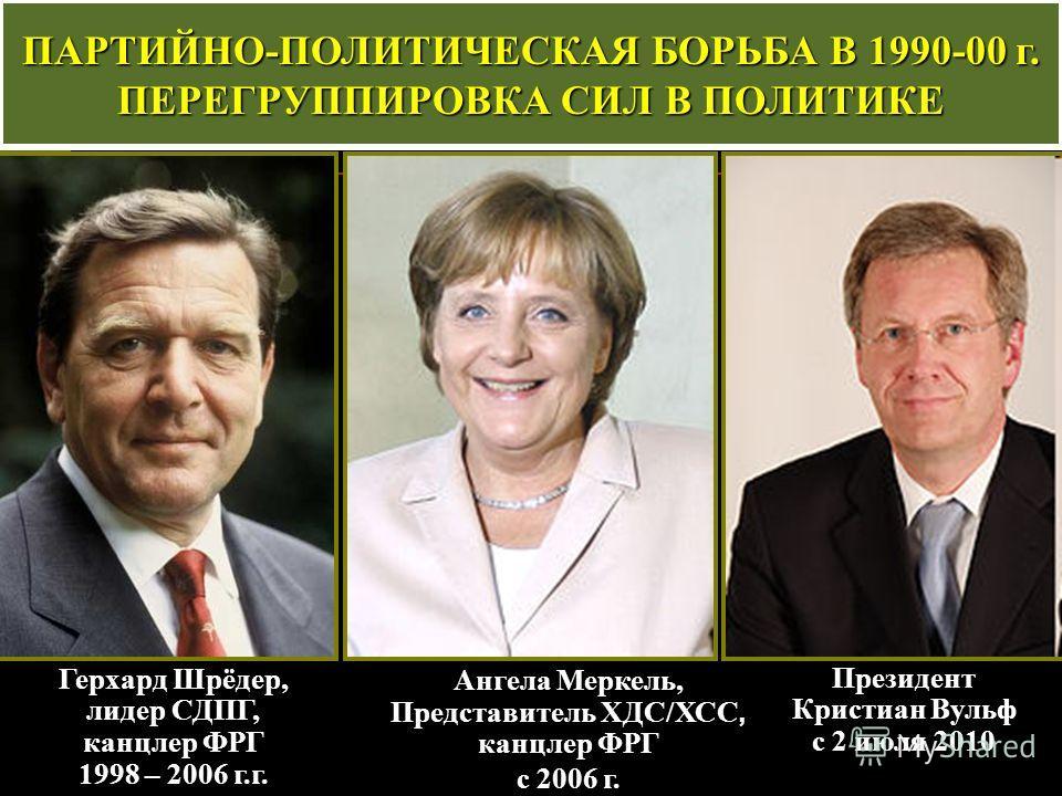 Герхард Шрёдер, лидер СДПГ, канцлер ФРГ 1998 – 2006 г.г. ПАРТИЙНО-ПОЛИТИЧЕСКАЯ БОРЬБА В 1990-00 г. ПЕРЕГРУППИРОВКА СИЛ В ПОЛИТИКЕ Ангела Меркель, Представитель ХДС/ХСС, канцлер ФРГ с 2006 г. Президент Кристиан Вульф с 2 июля 2010