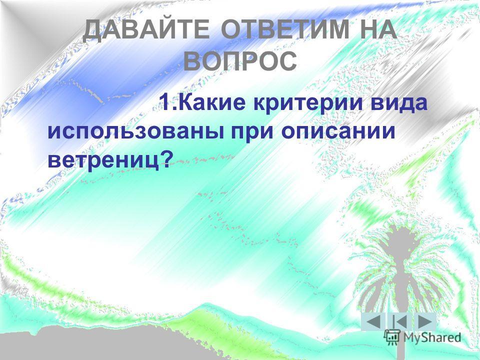 ДАВАЙТЕ ОТВЕТИМ НА ВОПРОС 1. Какие критерии вида использованы при описании ветрениц?