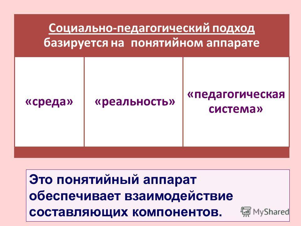 Социально-педагогический подход базируется на понятийном аппарате «среда» «реальность» «педагогическая система» Это понятийный аппарат обеспечивает взаимодействие составляющих компонентов.