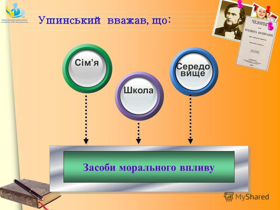 Засоби морального впливу Сімя Школа Середо виеще Ушинський вважав, що: