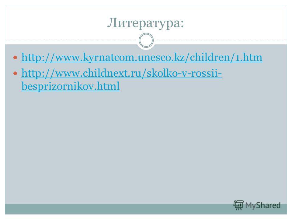 Литература: http://www.kyrnatcom.unesco.kz/children/1. htm http://www.childnext.ru/skolko-v-rossii- besprizornikov.html http://www.childnext.ru/skolko-v-rossii- besprizornikov.html