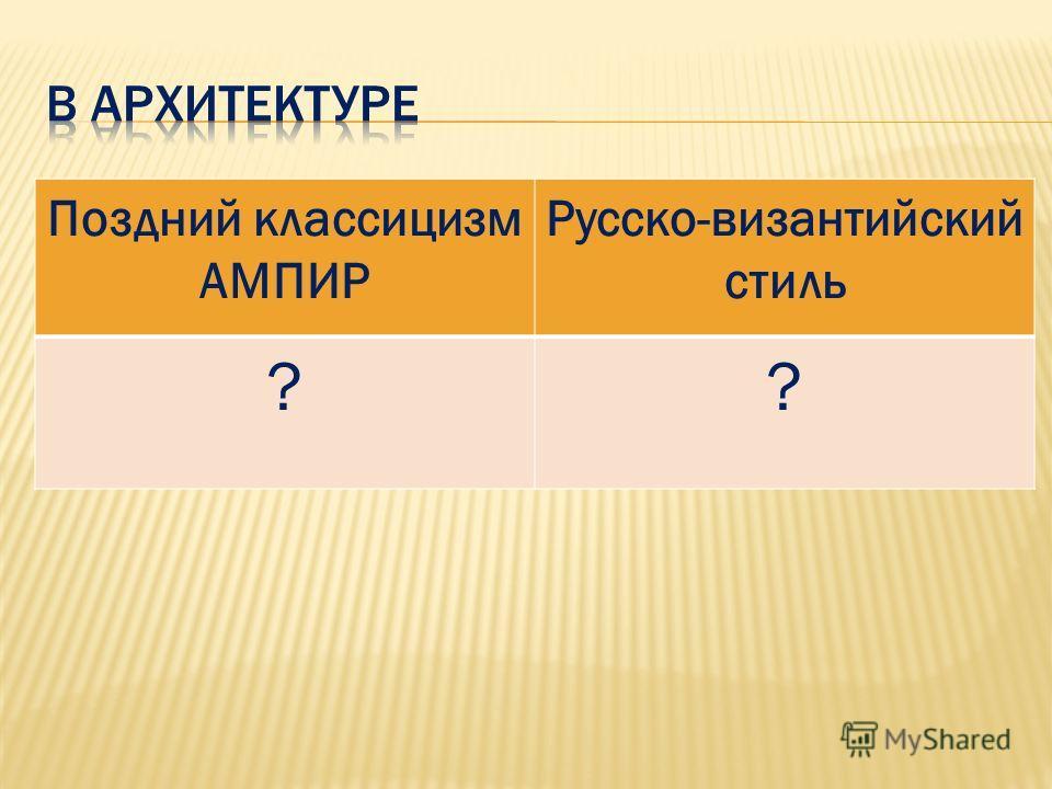 Поздний классицизм АМПИР Русско-византийский стиль ??