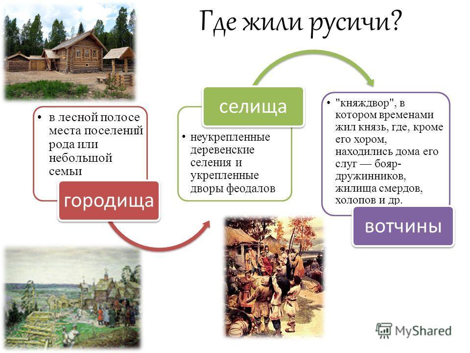 Где жили русичи? в лесной полосе места поселений рода или небольшой семьи городища неукрепленные деревенские селения и укрепленные дворы феодалов селища