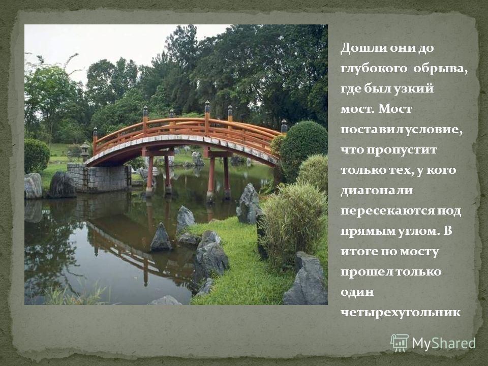 Дошли они до глубокого обрыва, где был узкий мост. Мост поставил условие, что пропустит только тех, у кого диагонали пересекаются под прямым углом. В итоге по мосту прошел только один четырехугольник