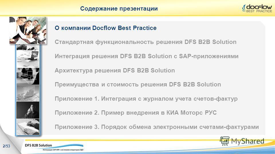 Содержание презентации О компании Docflow Best Practice Стандартная функциональность решения DFS B2B Solution Интеграция решения DFS B2B Solution с SAP-приложениями Архитектура решения DFS B2B Solution Преимущества и стоимость решения DFS B2B Solutio