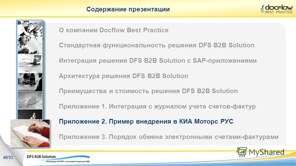 Содержание презентации 40/53 О компании Docflow Best Practice Стандартная функциональность решения DFS B2B Solution Интеграция решения DFS B2B Solution с SAP-приложениями Архитектура решения DFS B2B Solution Преимущества и стоимость решения DFS B2B S