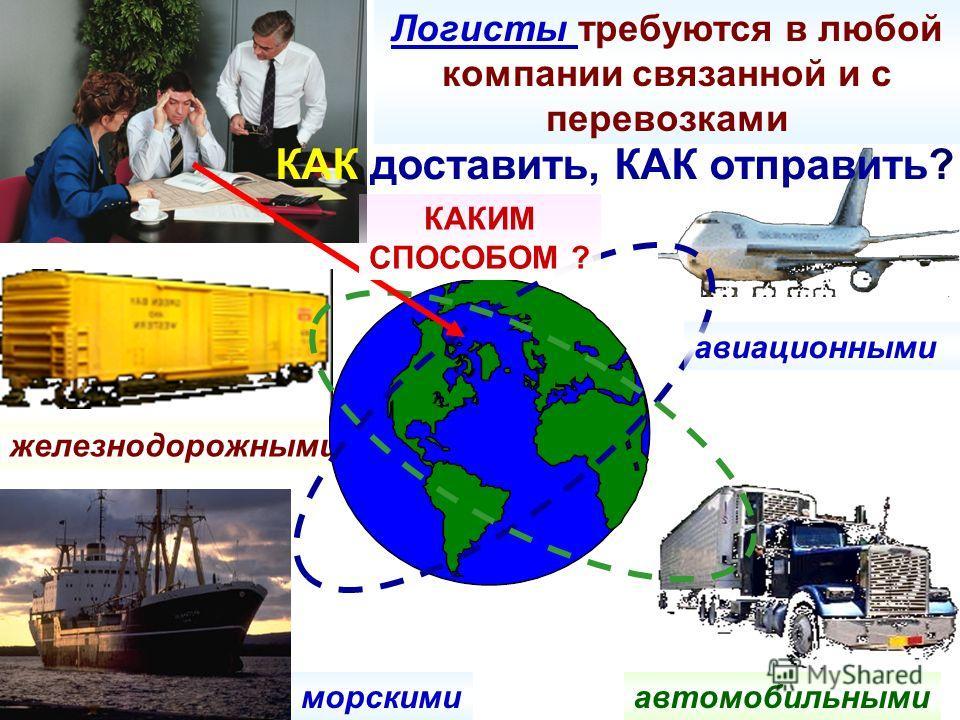 Логисты требуются в любой компании связанной и с перевозками железнодорожными авиационными автомобильными морскими КАКИМ СПОСОБОМ ? КАК доставить, КАК отправить?