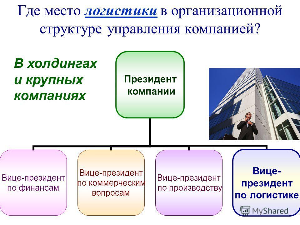 Где место логистики в организационной структуре управления компанией? В холдингах и крупных компаниях