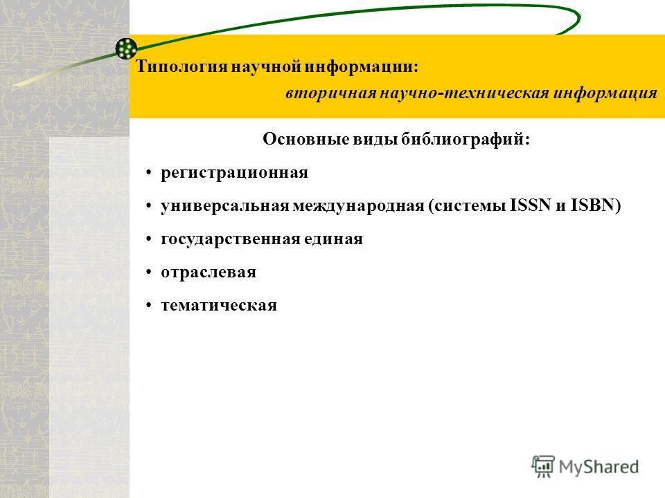 Типология научной информации: вторичная научно-техническая информация Основные виды библиографий: регистрационная универсальная международная (системы ISSN и ISBN) государственная единая отраслевая тематическая