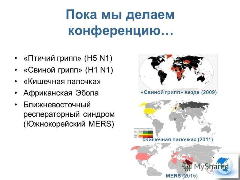 Пока мы делаем конференцию… «Птичий грипп» (H5 N1) «Свиной грипп» (H1 N1) «Кишечная палочка» Африканская Эбола Ближневосточный респираторный синдром (Южнокорейский MERS) «Свиной грипп» везде (2009) MERS (2015) «Кишечная палочка» (2011)