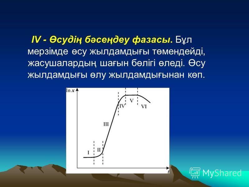 IV - Өсудің бәсеңдеу фазаны. Бұл мерзімде өсу жылдамдығы төмендейді, жасушалардың шағын бөлігі өледі. Өсу жылдамдығы өлу жылдамдығынан көп.