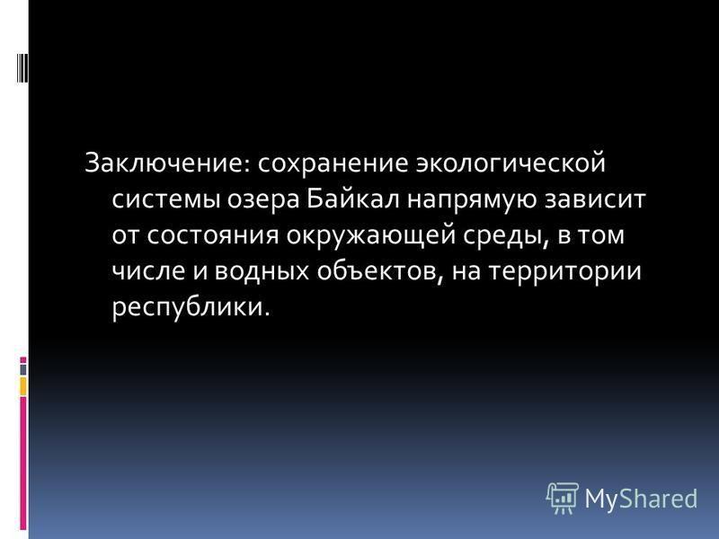 Заключение: сохранение экологической системы озера Байкал напрямую зависит от состояния окружающей среды, в том числе и водных объектов, на территории республики.