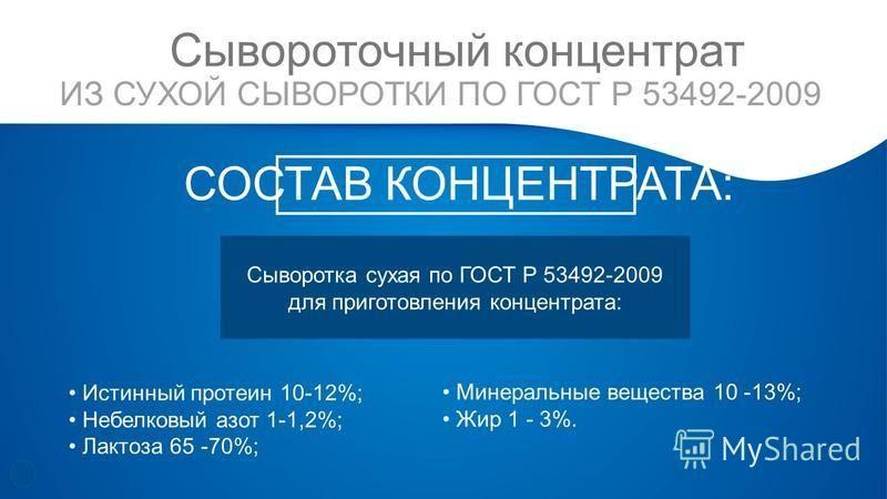 СОСТАВ КОНЦЕНТРАТА: ИЗ СУХОЙ СЫВОРОТКИ ПО ГОСТ Р 53492-2009 Истинный протеин 10-12%; Небелковый азот 1-1,2%; Лактоза 65 -70%; Сывороточный концентрат Сыворотка сухая по ГОСТ Р 53492-2009 для приготовления концентрата: Минеральные вещества 10 -13%; Жи