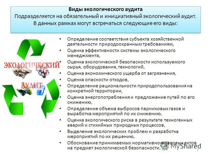 Виды экологического аудита Подразделяется на обязательный и инициативный экологический аудит. В данных рамках могут встречаться следующие его виды: Определение соответствия субъекта хозяйственной деятельности природоохранным требованиям, Оценка эффек