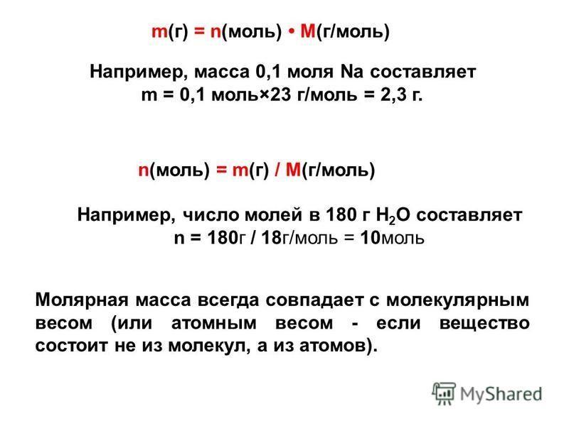 n(моль) = m(г) / M(г/моль) m(г) = n(моль) M(г/моль) Например, масса 0,1 моля Na составляет m = 0,1 моль×23 г/моль = 2,3 г. Например, число молей в 180 г H 2 O составляет n = 180 г / 18 г/моль = 10 моль Молярная масса всегда совпадает с молекулярным в
