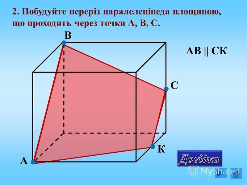 А В С 2. Побудуйте переріз паралелепіпеда площиною, що проходить через точки А, В, С. К АВ    СК