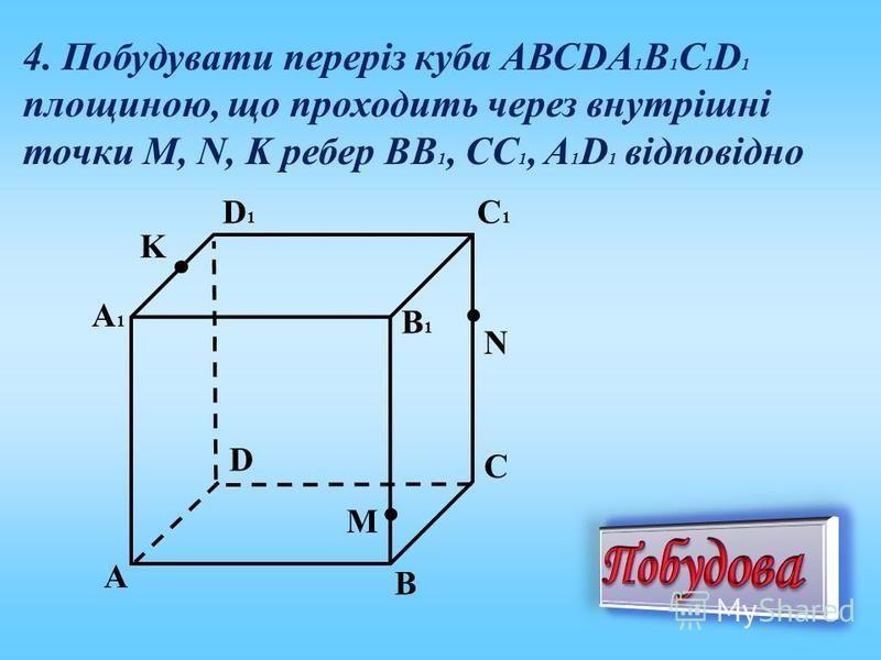 4. Побудувати переріз куба АВСDА 1 В 1 С 1 D 1 площиною, що проходить через внутрішні точки M, N, K ребер BB 1, CC 1, A 1 D 1 відповідно А C B D А1А1 D1D1 C1C1 B1B1 K N M