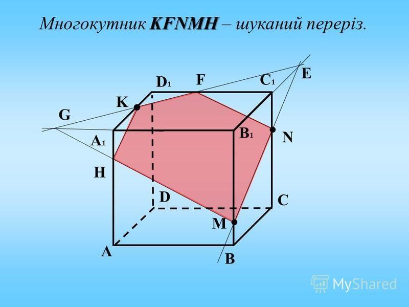 А C B D А1А1 D1D1 C1C1 B1B1 K N M Е F G H KFNMH Многокутник KFNMH – шуканий переріз.