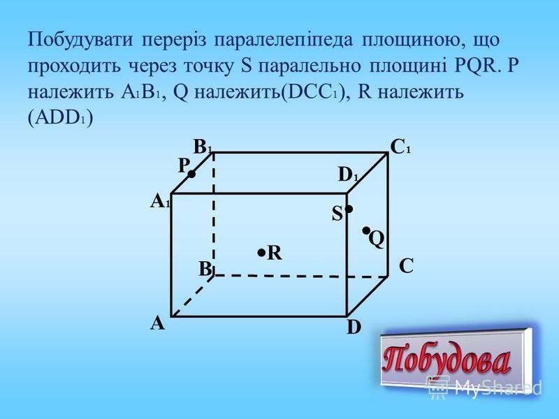 Побудувати переріз паралелепіпеда площиною, що проходить через точку S паралельно площині PQR. P належить А 1 В 1, Q належить(DCC 1 ), R належить (АDD 1 ) Q P R B А D C B1B1 А1А1 C1C1 D1D1 S