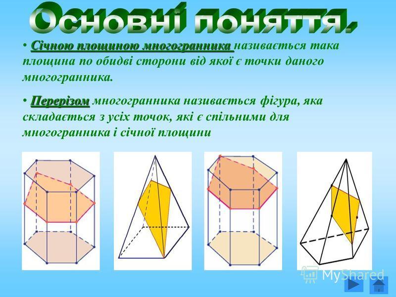 Січною площиною многогранника Січною площиною многогранника називається така площина по обидві сторони від якої є точки даного многогранника. Перерізом Перерізом многогранника називається фігура, яка складається з усіх точок, які є спільними для мног