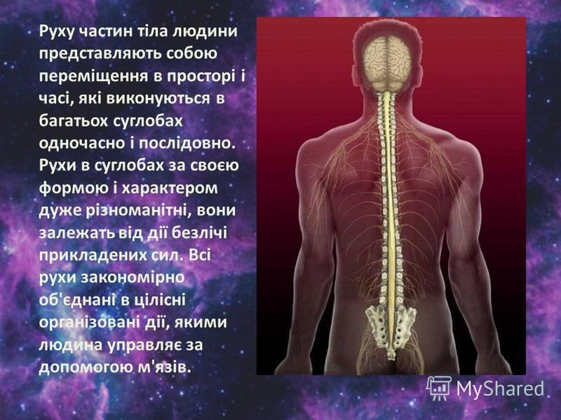 Руху частин тіла людини представляють собою переміщення в просторі і часі, які виконуються в багатьох суглобах одночасно і послідовно. Рухи в суглобах за своєю формою і характером дуже різноманітні, вони залежать від дії безлічі прикладених сил. Всі