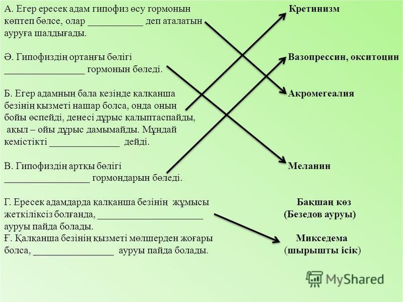А. Егер пппппппересек адам гипофиз өсу гормоны Кретинизм көптеп бөлсе, олар ___________ деп аталатын ауруға шалдығады. Ә. Гипофиздің ортаңғы бөлігі Вазопрессин, окситоцин ________________ гормоны бөледі. Б. Егер адамның бала кезінде қалқанша Акромеге