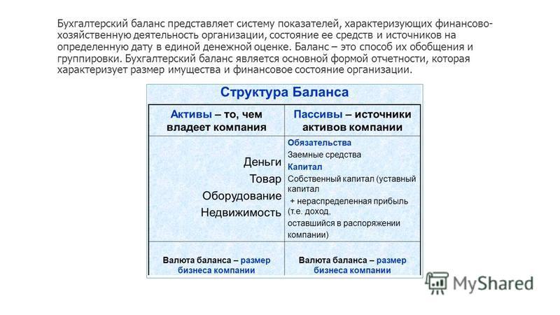 Бухгалтерский баланс представляет систему показателей, характеризующих финансово- хозяйственную деятельность организации, состояние ее средств и источников на определенную дату в единой денежной оценке. Баланс – это способ их обобщения и группировки.