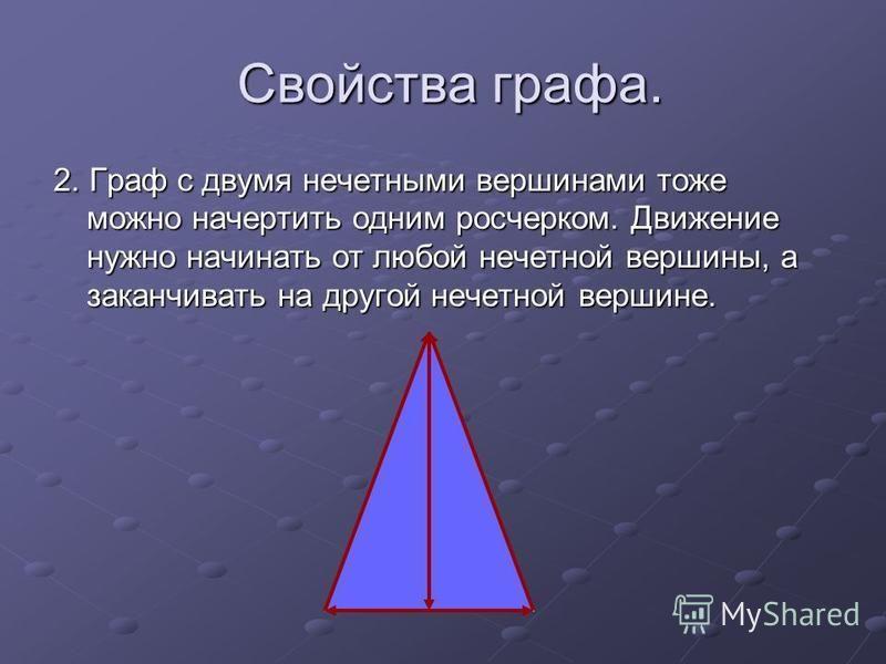 Свойства графа. Свойства графа. 2. Граф с двумя нечетными вершинами тоже можно начертить одним росчерком. Движение нужно начинать от любой нечетной вершины, а заканчивать на другой нечетной вершине.