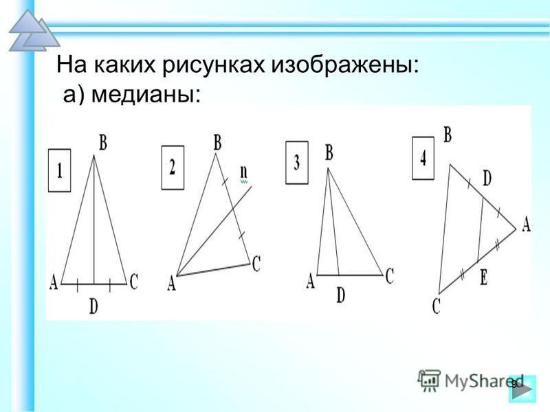 На каких рисунках изображены: а) медианы: 9