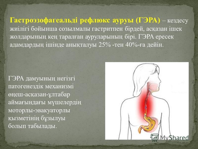 Гастроэзофагеальді рефлюкс ауруы (ГЭРА) – кездесу жиілігі бойынша созылмалы гастрит пен бірдей, асқазан ішек жолдарының кең таралған ауруларының бірі. ГЭРА пересек адамдардың ішінде анықталуы 25% -тен 40%-ға дейін. ГЭРА дамуының негізгі патогенездік