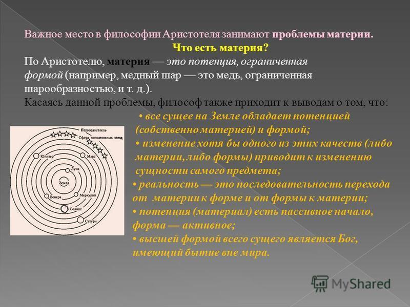 Важное место в философии Аристотеля занимают проблемы материи. Что есть материя? По Аристотелю, материя это потенция, ограниченная формой (например, медный шар это медь, ограниченная шарообразностью, и т. д.). Касаясь данной проблемы, философ также п